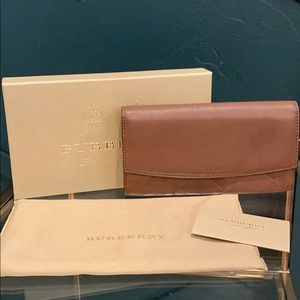 Brown Leather Plaid Burberry Continental Wallet
